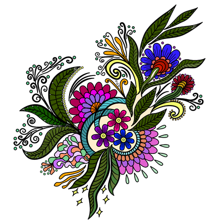 Hand drawn doodle element in vector. Ethnic design. Colorful version. EPS 10