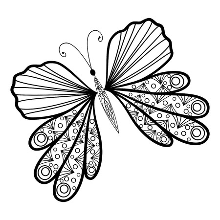 Hand drawn doodle element butterfly in vector icon. Ethnic design black and white version. Illustration