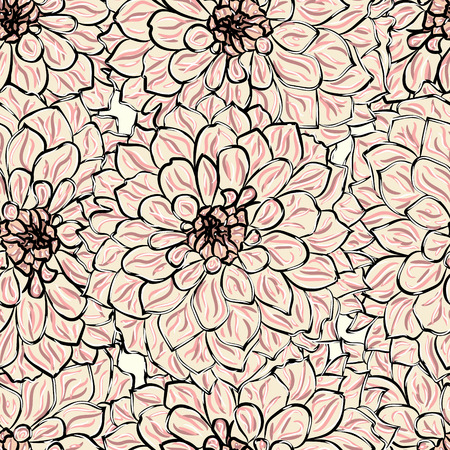 Beautiful colorful seamless pattern with Georgina flowers. Vector illustration. EPS 10