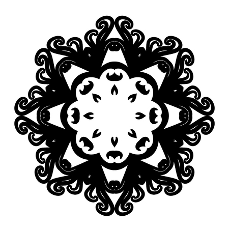 indian paint brush: Vector mandala. Abstract calligraphic element for your design, lace ornament. Round pattern in oriental style. EPS 10