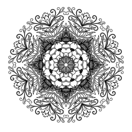 indian paint brush: Vector mandala. Abstract calligraphic element for your design, lace ornament. Round pattern in oriental style.