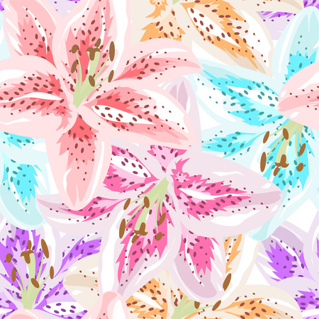 Beautiful colorful seamless pattern with Lily flowers. Vector illustration. EPS 10 Illustration