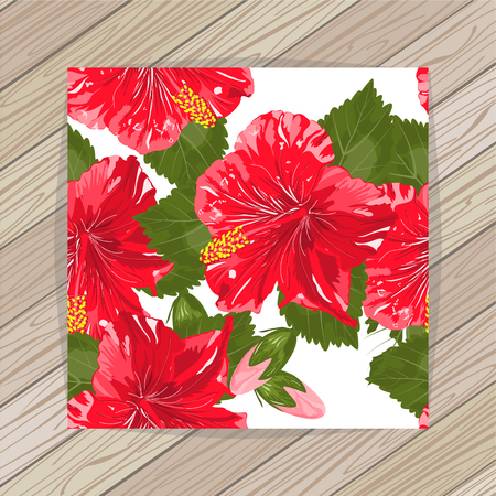 A Seamless hibiscus flowers pattern.Vector illustration. EPS 10 Illustration