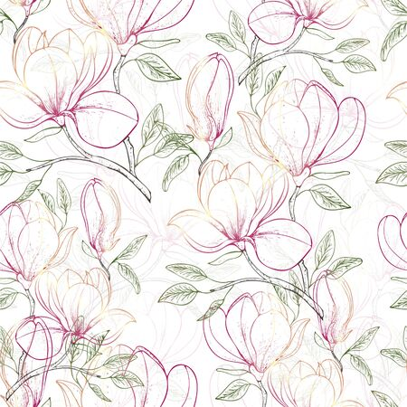 Seamless pattern of floral background with flowers Magnolia. Vector illustration. Illustration