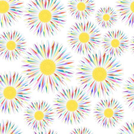 Beautiful colorful seamless pattern with Chamomile flowers.