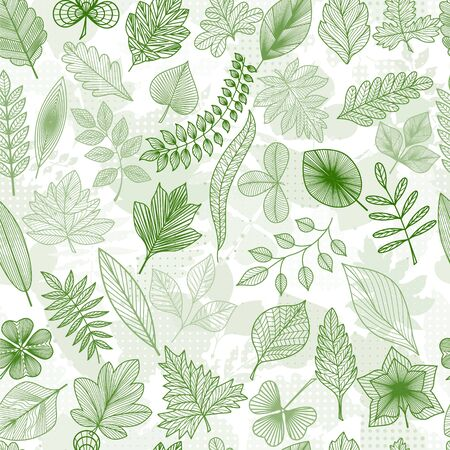 Seamless pattern with abstract green leaves. Stok Fotoğraf - 135355582