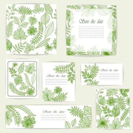 Set beautiful cards and seamless pattern with green leaves, design elements. Can be used for birthday, Valentines Day, Mothers Day, wedding cards, invitations, greetings. Stok Fotoğraf - 135355584