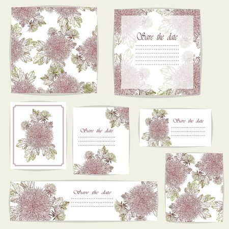 Set beautiful cards and seamless pattern with Chrysanthemum flowers, design elements. Can be used for birthday, Valentines Day, wedding cards, invitations, greetings.