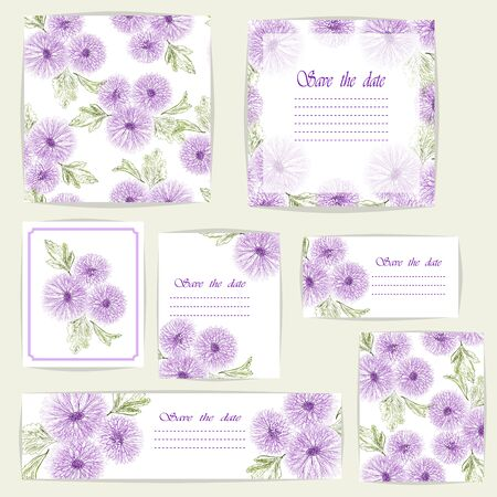 Set beautiful cards and seamless pattern with Chrysanthemum flowers, design elements.
