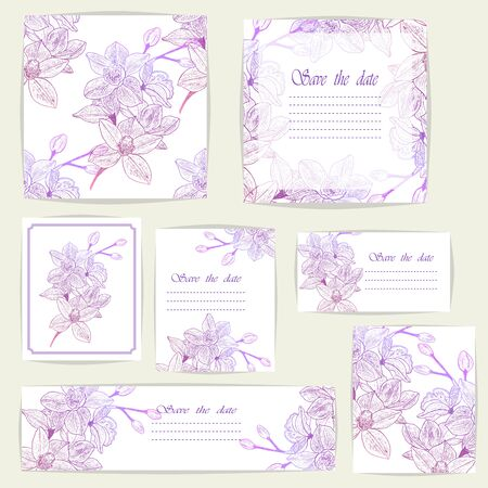 Set beautiful cards and seamless pattern with Orchid flowers, design elements.