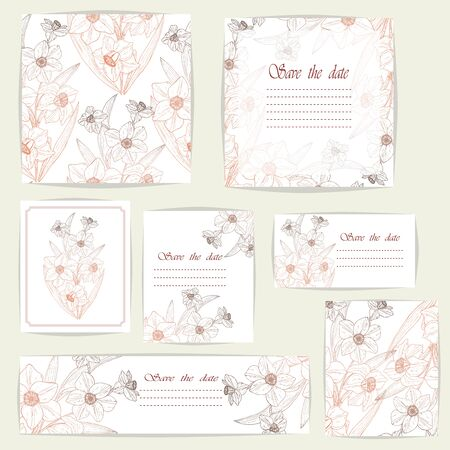 Set beautiful cards and seamless pattern with Narcissus flowers, design elements.