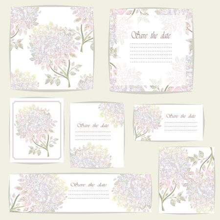 Set beautiful cards and seamless pattern with Rhododendron flowers, design elements. Can be used for birthday, Valentines Day, wedding cards, invitations, greetings.