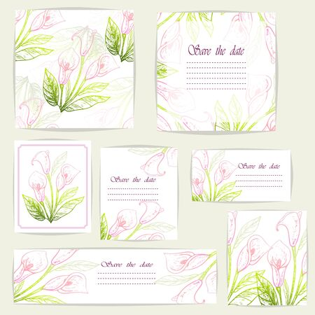 Set beautiful cards and seamless pattern with Calla flowers, design elements. Stok Fotoğraf - 135356535