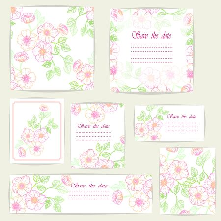 Set beautiful cards and seamless pattern with Sakura flowers, design elements. Stok Fotoğraf - 135356544