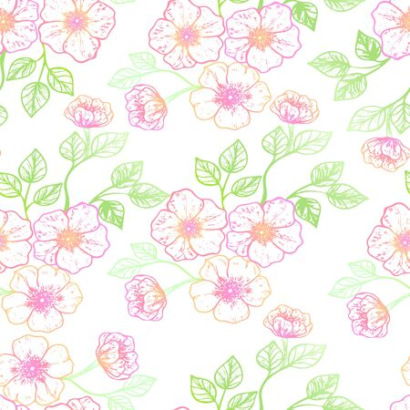 Beautiful spring flowers seamless pattern.