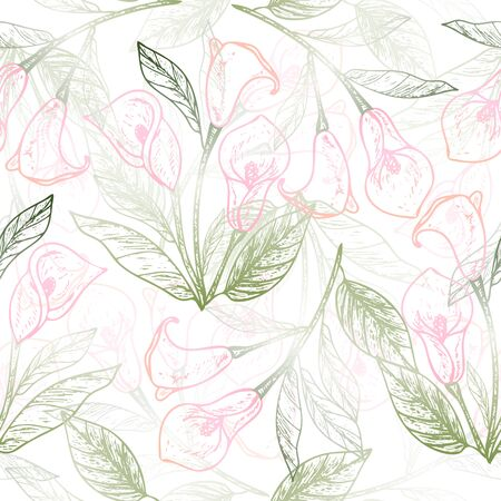 Seamless pattern with flowers Calla.
