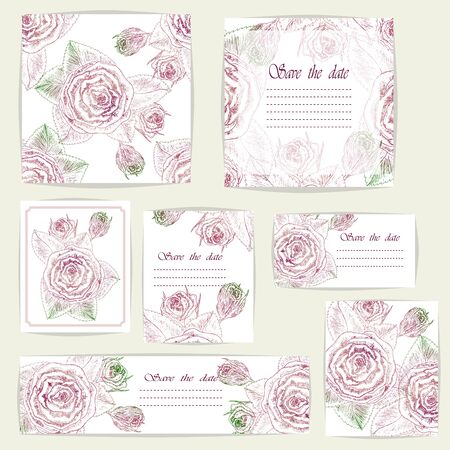Floral design elements. Can be used for birthday, valentines day, mothers day, wedding cards, invitations, greetings. Çizim
