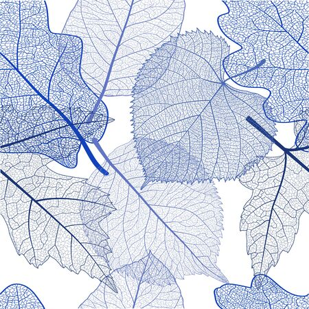 Seamless pattern with blue leaves. Vector Çizim