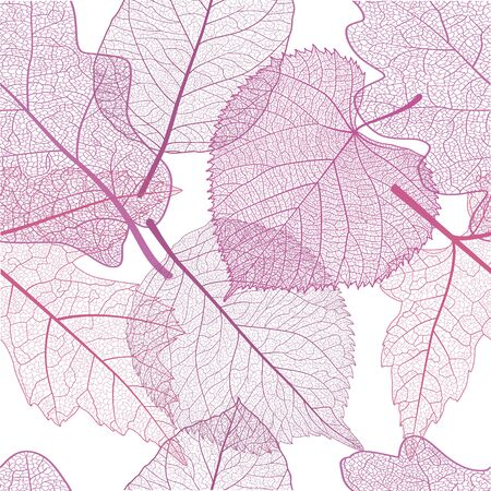 Seamless pattern with pink leaves. Çizim