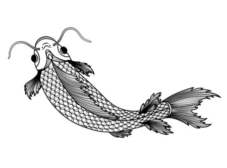 Hand drawn of fish isolated. For tattoo art, coloring books. Black and white version.