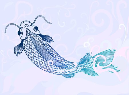 Hand drawn of fish isolated. On background color