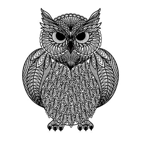 Hand drawn of owl isolated. For tattoo art, coloring books. Black and white version.