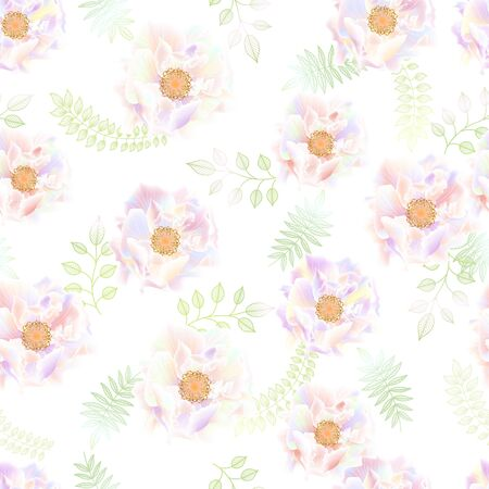 Beautiful seamless pattern with colorful rose.