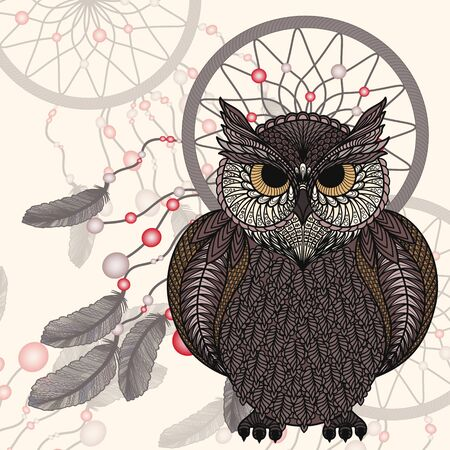 Owl on a background Dream Catchers.
