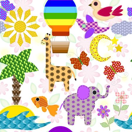 Seamless background with cute retro elements. Applique of tissue. In the children's style.