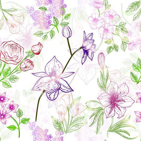 Beautiful seamless pattern with flowers.