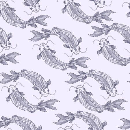 Seamless pattern with fishes. Çizim