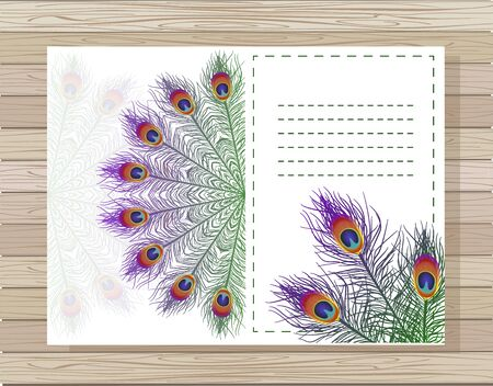 Vector card with a round ornament and abstract backdrop. Beautiful oriental pattern with peacock feathers elements.