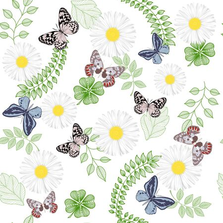 Beautiful seamless pattern with flowers Chamomile and butterflies. Stok Fotoğraf - 135357822