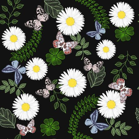 Beautiful seamless pattern with flowers Chamomile and butterflies.