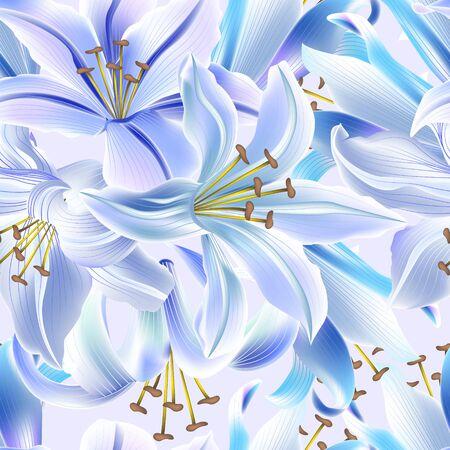 Beautiful colorful seamless pattern with Lily flowers. Çizim