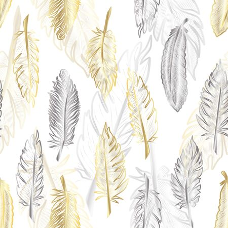 Seamless pattern with of gold and silver feather.
