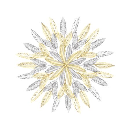 Mandala. Round Ornament pattern background with abstract feathers. Çizim