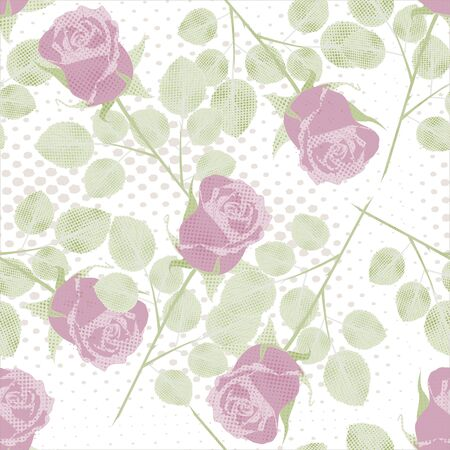 Vintage seamless pattern with flowers Roses.