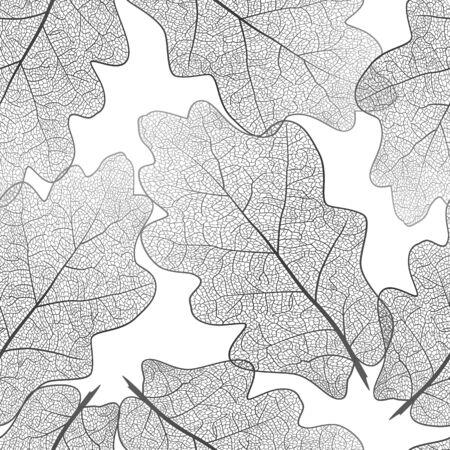 Seamless pattern with oak leaves. Çizim