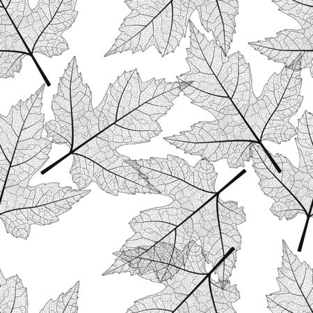 Seamless pattern with maple leaves.