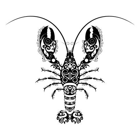 A Vector Hand Drawn Ink Lobster. Patterned Design Illustration
