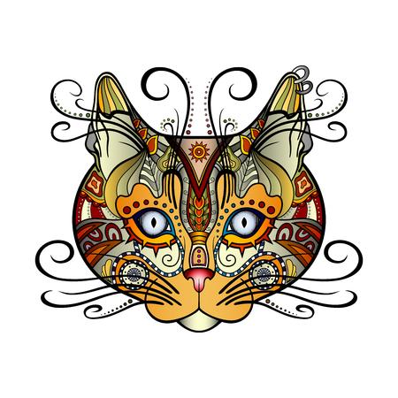 Vector Tribal Decorative Cat. Patterned Design, Tattoo