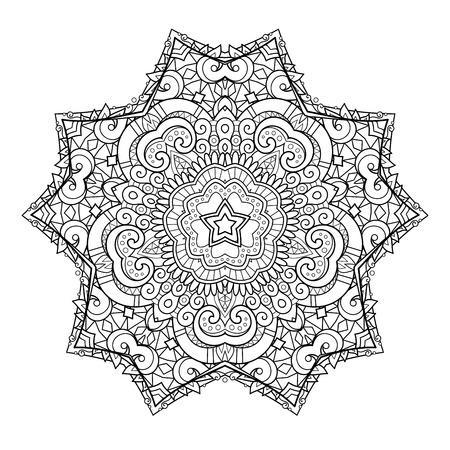Vector Monochrome Star. Ethnic Decorative Element. Abstract Object Isolated On White Background