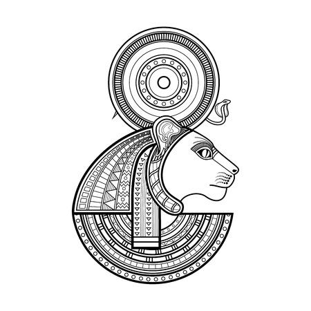 Vector God of ancient Egypt. Sekhmet