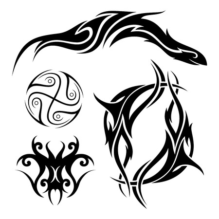 A Vector Set of Tribal Tattoo Patterned design. Reklamní fotografie - 97750808