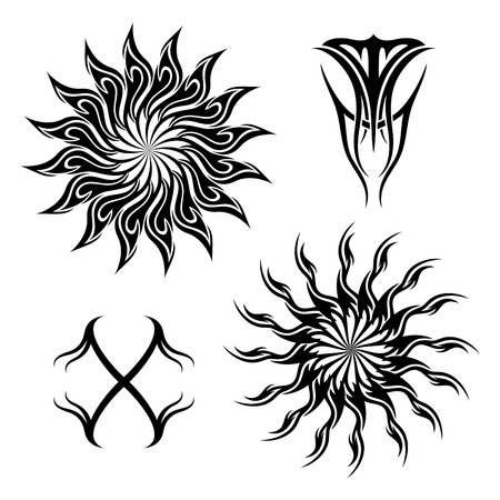 A Vector Set of Tribal Tattoo Patterned design.