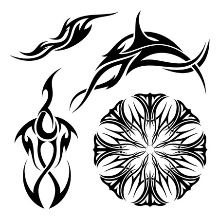 Vector Set of Tribal Tattoo. Patterned design