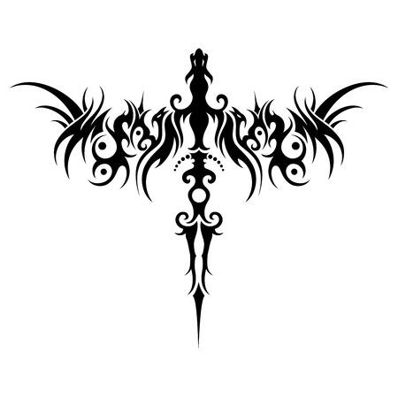 Vector Tribal Dragon. Object Geïsoleerd Op Een Witte Achtergrond