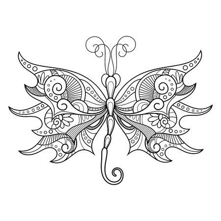 Vector Abstract Dragonfly on White Background. Patterned design, Tattoo
