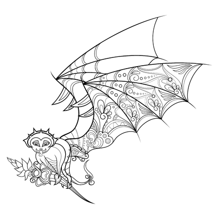 Vector Decorative Gargoyle With Wings. Patterned design